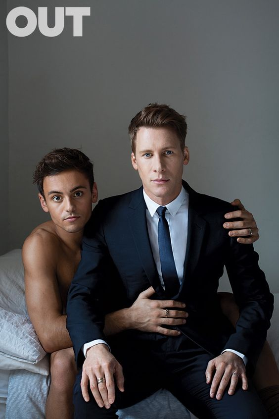 #OUT magazine celebrates love with its February 2016 issue: 21 year-old British Olympic swimmer #TomDaley and his fiancee, director #DustinLanceBlack!