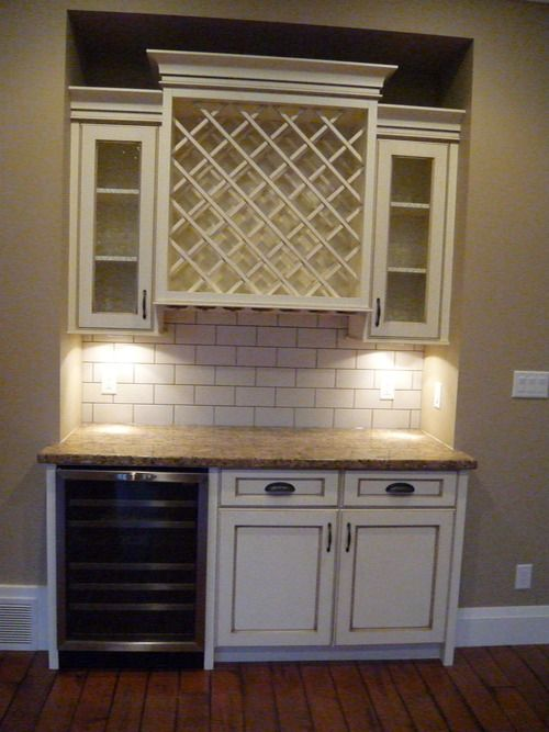 Antique White Cabinets Wine Cabinet Stainless Steel Wine Fridge White Subway Tile Backsplash