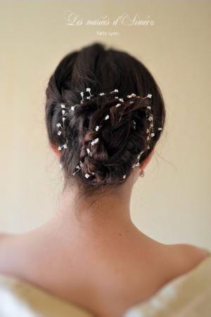 Bijou de cheveux de mariée, gypsophile perlé à tresser, modèle Flora