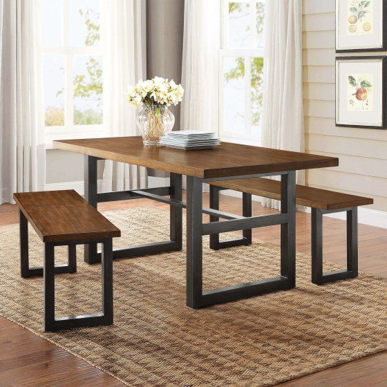 Better Homes And Gardens Mercer Dining Table Vintage Oak Finish Dining Table Dining Table Setting Kitchen Table Settings