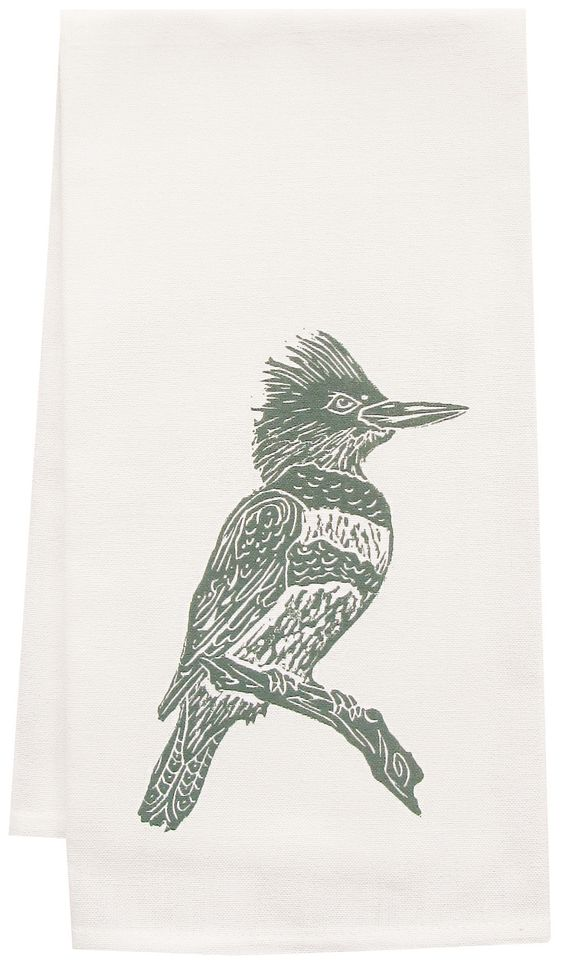Organic Kingfisher Block Print Tea Towel