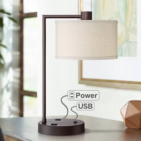 Colby Bronze Finish Desk Lamp With Outlet And Usb Port 55p27 Lamps Plus Bedroom Lamps Nightstand Desk Lamp Bedside Night Stands