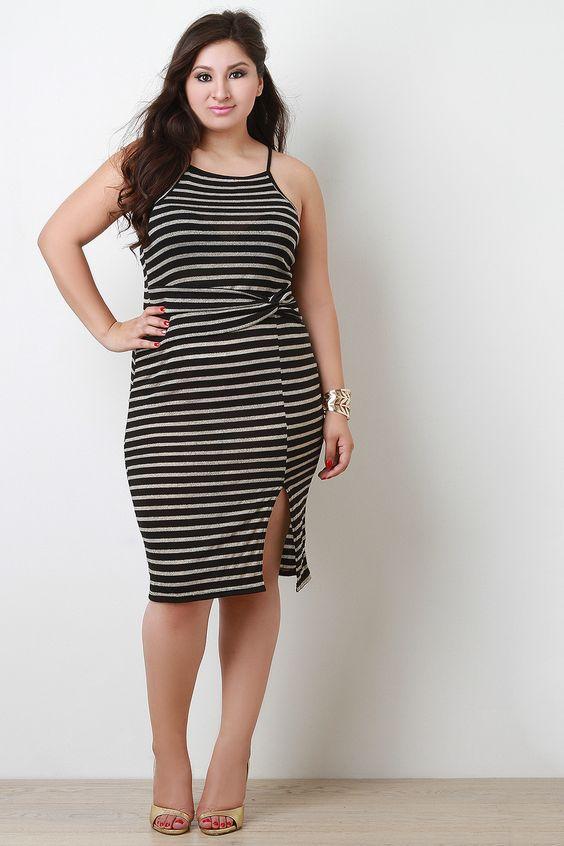 Striped Twist Waist Midi Dress