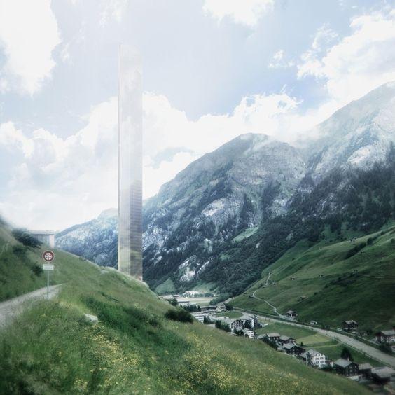 Morphosis divulga proposta para uma torre de 381 metros de altura em Vals