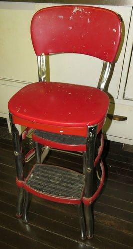 1950s Cosco Kitchen Red Vinyl Chrome Step Stool Chair