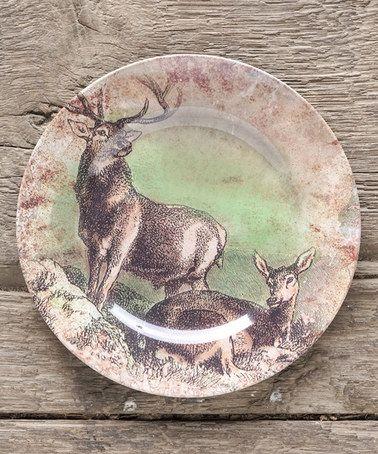 Look at this #zulilyfind! Brown Stag & Doe Plate - Set of Four #zulilyfinds