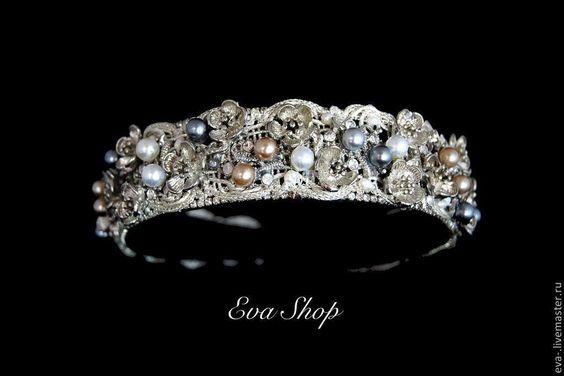 Купить Диадема -ободок Бьянка 2 - серебряный, стильное украшение, авторская ручная работа