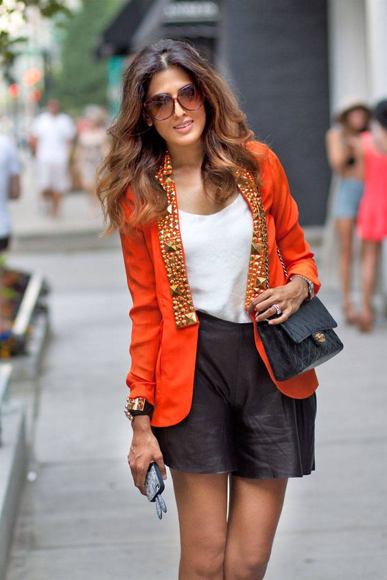 Orange Jacket and Leather Shorts
