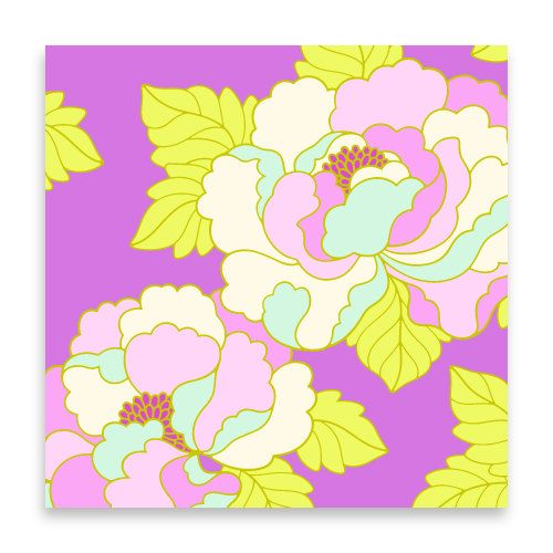 GoGo Rose in Purple, 1 Yard, Heather Bailey, Lottie Da, Quilting Cotton