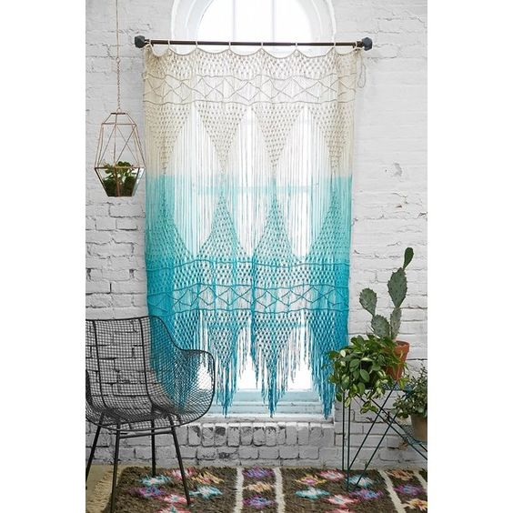 Magical Thinking Safi Wall Hanging (€76) ❤ liked on Polyvore featuring home, home decor, wall art, blue, macrame wall hanging, blue home decor, motivational wall art, inspirational wall art and blue wall art