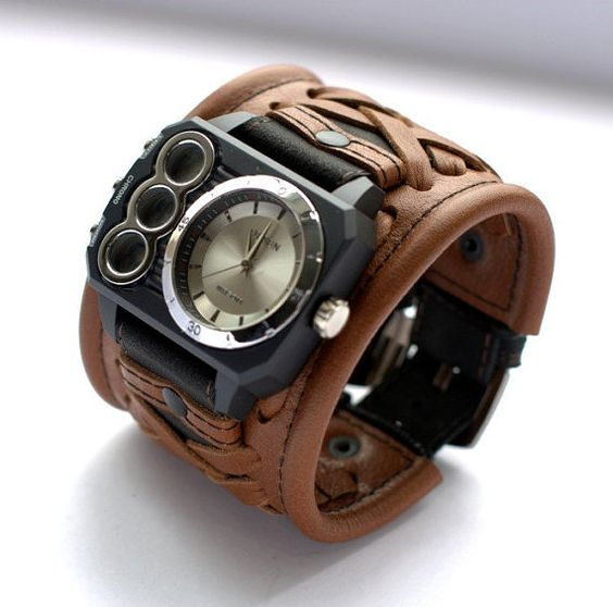 Mens wrist watches bracelet «Magellan» - Gifts for Mens - SALE - Worldwide Shipping - Leather cuff wrist watch.