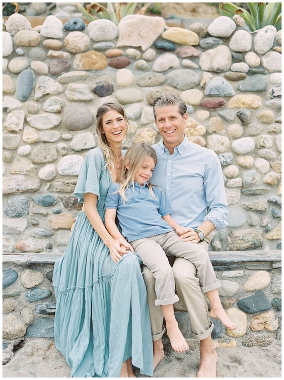 Blue and cream outfits are perfect for your family session on the beach. Film capture by Julie Paisley.