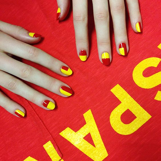 World Cup flag manicures by nail guru Madeline Poole.: