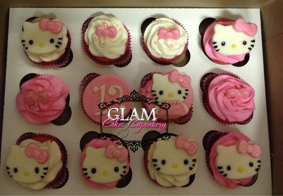 Hello Kitty Cupcakes W/toppers  Facebook.com/glamcakescupcakery