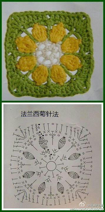 sunflower square free crochet chart pattern: