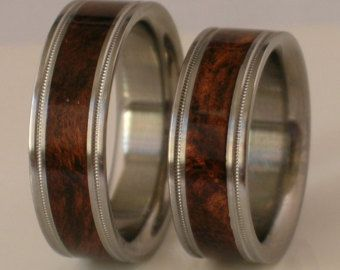 Titanium Wood Ring Purple Heart Wooden Inlay Band von usajewelry