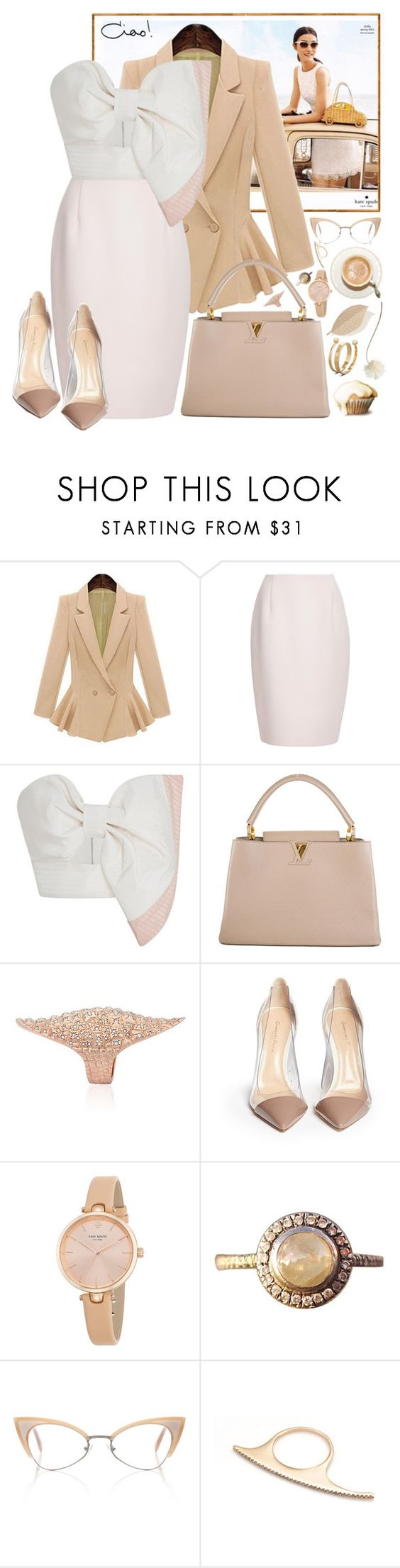 """""""Lady-Like!"""" by hennie-henne ❤ liked on Polyvore featuring Kate Spade, Finders Keepers, Johanna Ortiz, Louis Vuitton, Venyx, Gianvito Rossi, Barneys New York, Andy Wolf, Kismet by Milka and Alexander McQueen"""