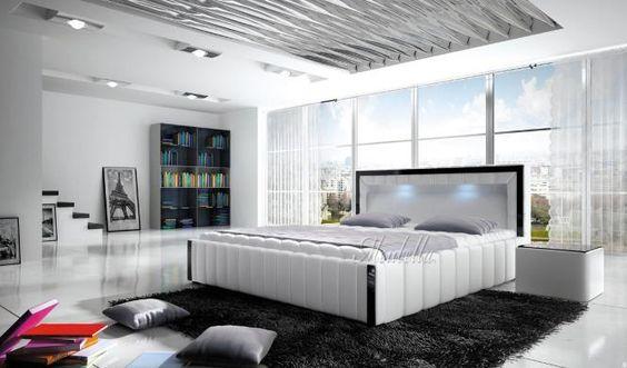 Design leren tweepersoonsbed vervaardigd uit hoogwaardig kunstleer (Pellini-leer). Het bed heeft gestreepte zijkanten met bovenzijde in zwart en verlichting in het hoofdeinde. Het bed is in wit leder uitgevoerd. Het bed is verkrijgbaar in drie matrasmaten (let op: matrassen worden niet meegeleverd!): 140x200 160x200 > deze uitvoering kost €25,- extra 180x200 > deze uitvoering kost €50,- extra  http://www.meubella.nl/slaapkamer/bedden/2765-bed-belize.html