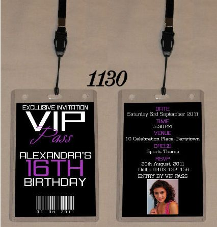 Any Age Birthday Vip Pass Invitation & Lanyard - Double Sided