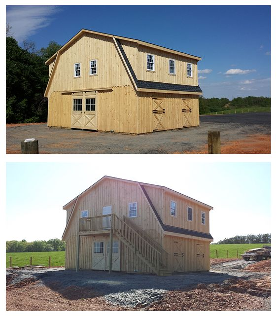 34x24 modular high profile horse barn includes gambrel for Barn style garage with living quarters