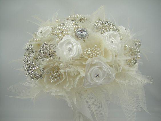 Bridal Brooch Bouquet Wedding Bouquet Ivory от SharinaWedding