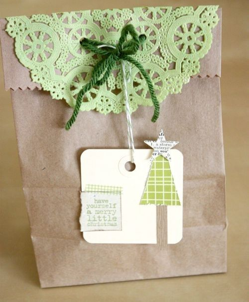 gift wrapping inspirationcoloured doilies for xmas and homemade