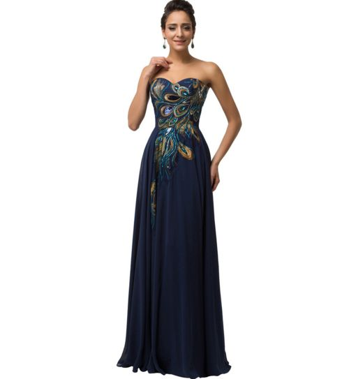 Navy Blue Peacock Long Women&39s Formal Dress - Bridesmaids - Prom ...