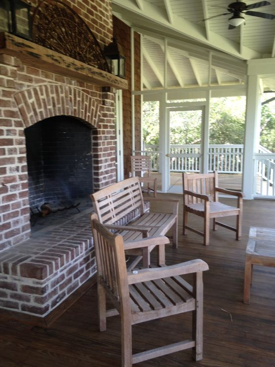 Outdoor Fireplace At The Poplar Grove Boathouse On
