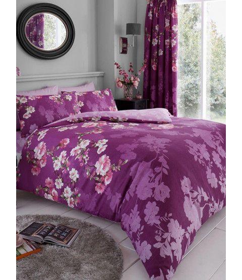 Roseanne Floral Double Duvet Cover And Pillowcase Set Purple Duvet Cover Sets Bed Linens Luxury Duvet Covers