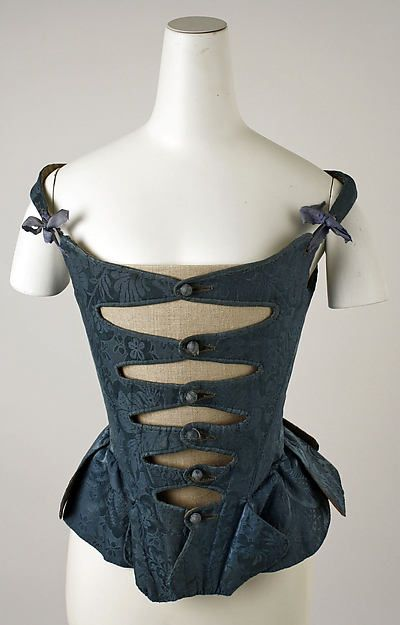 Corset Date: late 18th century Culture: European Medium: silk, baleen, leather, cotton Accession Number: C.I.39.13.213a, b