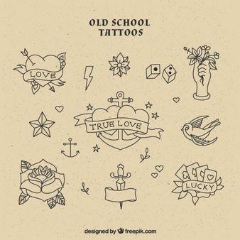 Coleção tatuagens da velha escola