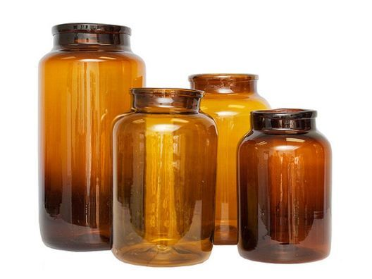 Amber Mason Jars - for those who don't like clear or cobalt! Add a cork for a more industrial feel