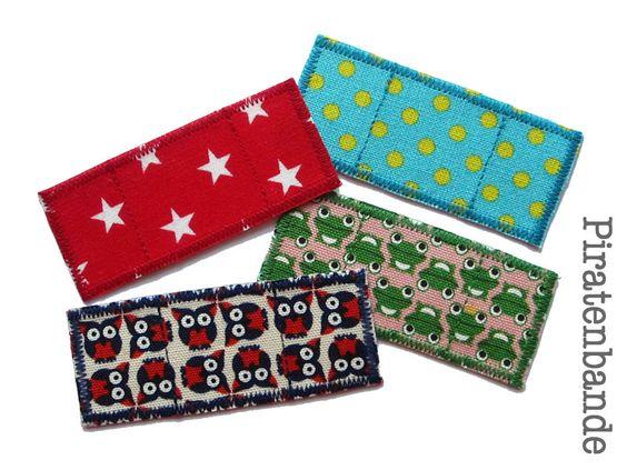 4 Trostpflaster im Set - Piratenbande - Applikationen zum Aufbügeln, Knieflicken, Hosenflicken für Kinder
