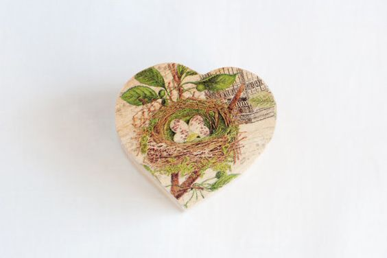 Small wooden wedding box A Birds Nest by MissVintageWedding, $14.20