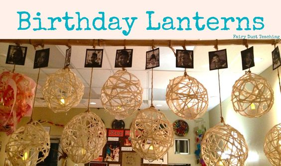 BIrthday Celebration: Another rocking idea. Remember the old fashion art project - paste, yarn and a balloon? Fast forward to Reggio inspired and you have birthday lanterns. The lanterns hang undecorated until the child's birthday (child's photo is attached to plain lantern). In the second photo you can see the ribbons woven in for the celebration. The teacher told me that there are little battery operated flames in the lanterns. On the child's birthday - their plain lantern is lit.