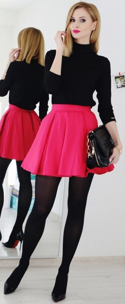 Black turtleneck, Fuchsia A-Line Mini Skirt, Black Opaque Tights, Black Loubs | dressup for different occasions | Beauty Fashion Shopping #black