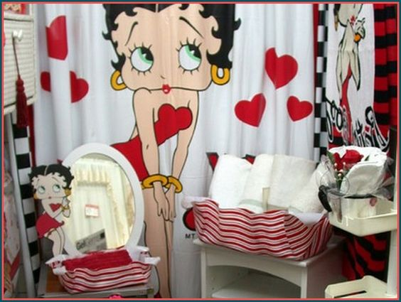 bathroom accessories betty boop and shower curtains on