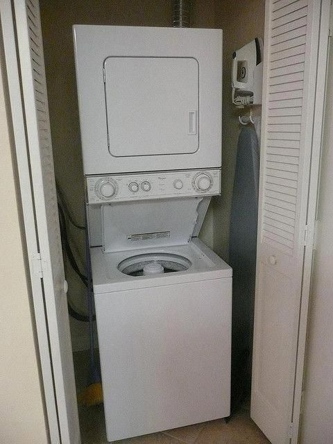 Whirlpool Stacked Washer Dryer Stackable Washer And Dryer Laundry Room Storage Small Laundry Room Organization