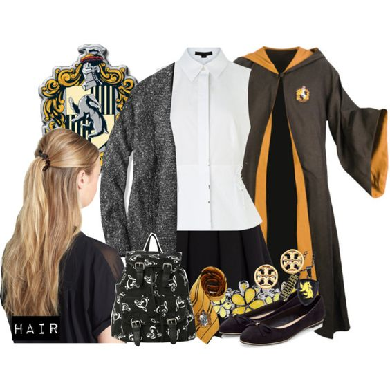 Hufflepuff Student - Harry Potter by nerd-ville on Polyvore featuring Alexander Wang, L.L.Bean, Polo Ralph Lauren, Liz Claiborne, Tory Burch, France Luxe, harrypotter and hogwarts