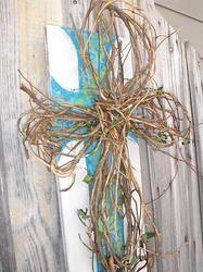 Painted Wood Cross with Honeysuckle Vine