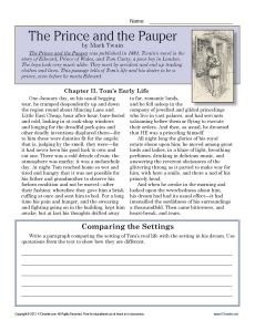 Printables Free 7th Grade Reading Comprehension Worksheets the prince and pauper comprehension reading skills 7th grade worksheet