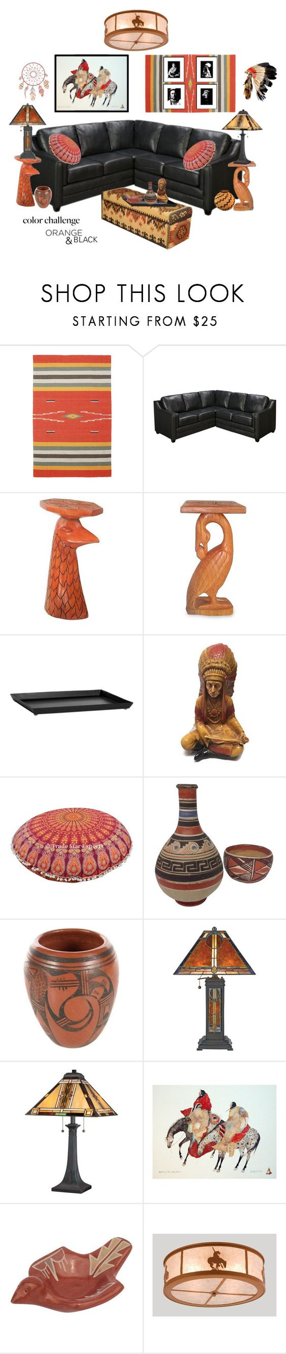 """Native American Design"" by purplepoet ❤ liked on Polyvore featuring interior, interiors, interior design, home, home decor, interior decorating, St. Croix, NOVICA, Quoizel and Meyda"