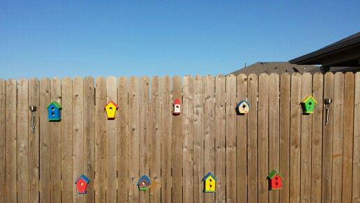 Birdhouse, fence decorating. Saw this on pinterest and had to try it. It looks so pretty.