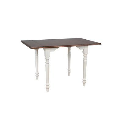 August Grove Kenya Drop Leaf Solid Wood Dining Table Base Color White Dining Table Solid Wood Dining Table Extension Dining Table