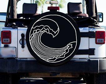 Beach Wave Design Tire Cover Beach Tire Cover Custom Tire Cover Jeep Tire Cover Women S Car Accessory Beachy T Jeep Tire Cover Tire Cover Jeep Accessories