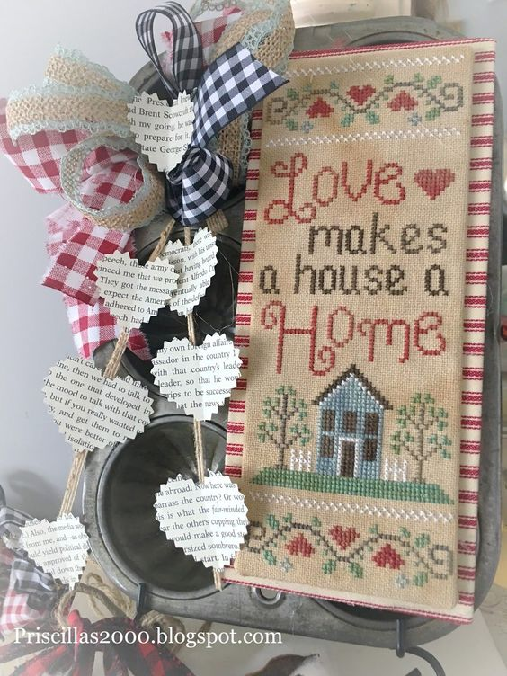 """Good morning! I am here to share """"lovely Home """" from Country Cottage Needleworks .. started stitching this yesterday and finished it up... #needlework"""