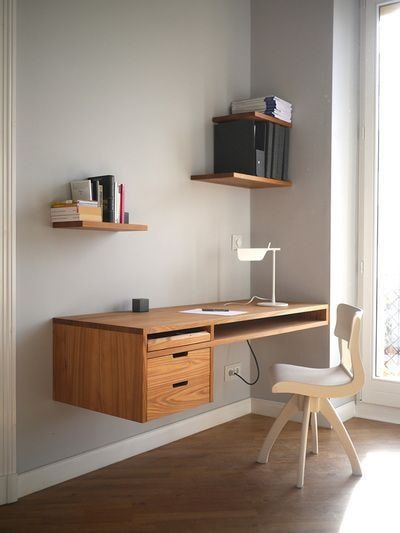 Ideales para espacios pequeños #Arqzon #EscritoriosFlotantes #Repisas #Madera