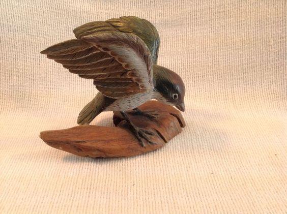 Sculpture: #FreeShipping Vintage Bird Hand Carved Wood &Painted Sculpture Figurine Artist W C Spear