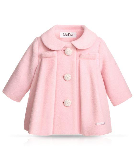 BABY DIOR - Pale pink heavy woollen coat