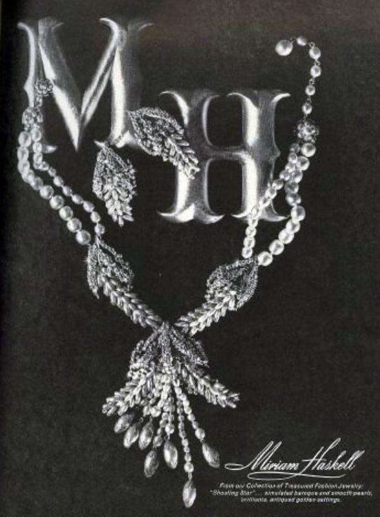 Miriam Haskell - Collier 'Epis' - Métal Doré et Perles Imitation - Publicité Vintage - Magazine Vogue